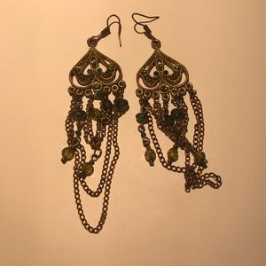 Green beaded and chain earrings